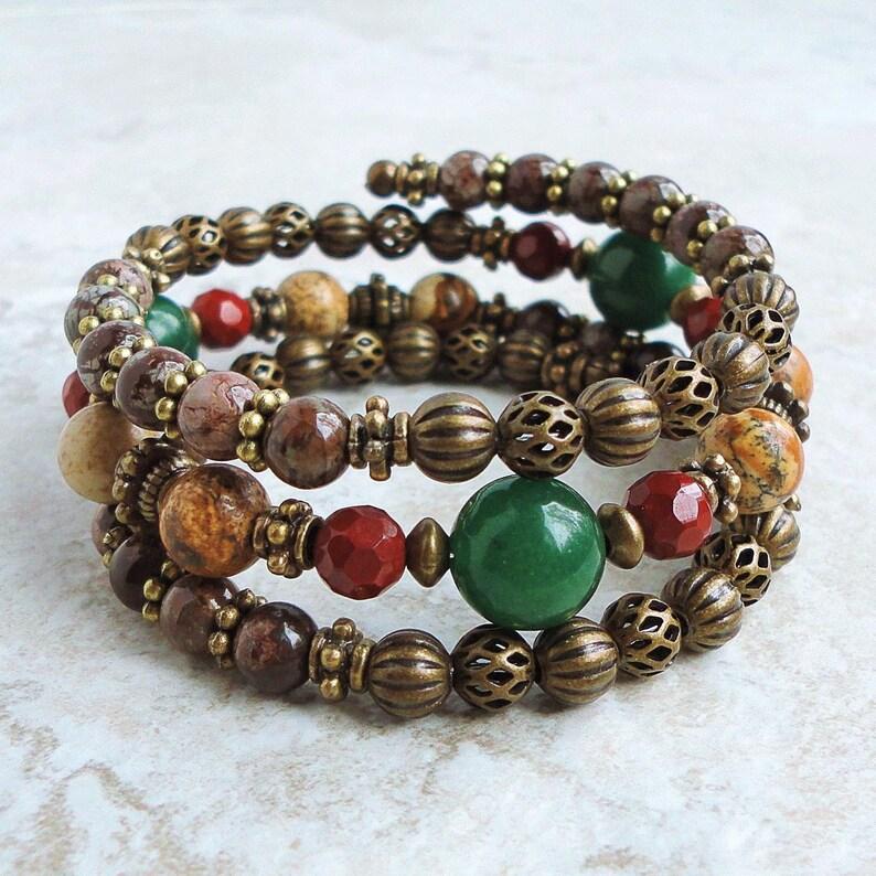 Gemstone Christmas Memory Wire Bracelet Green Aventurine Red image 0