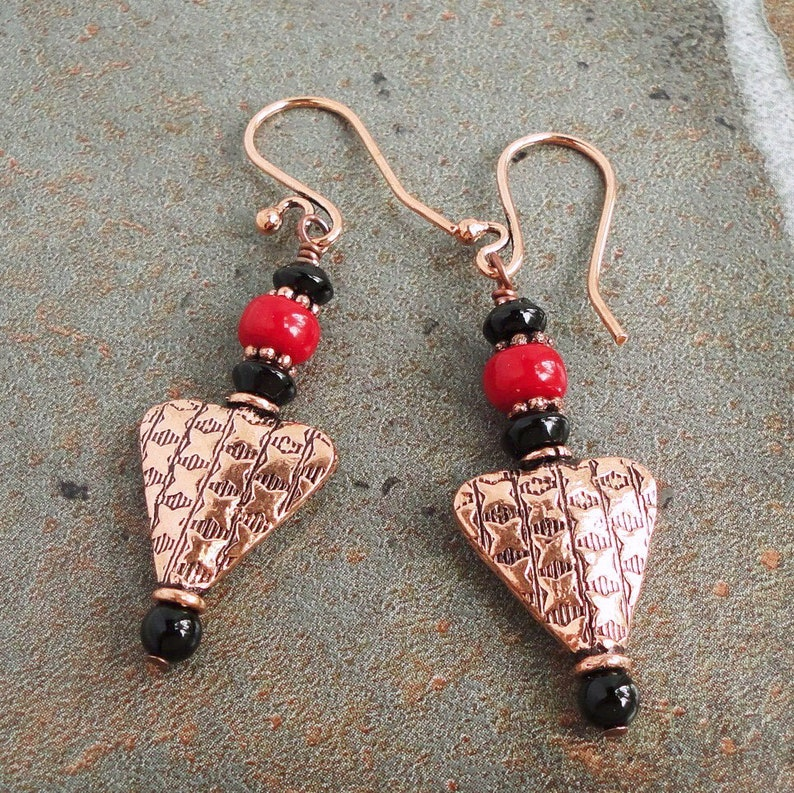 Black Onyx and Red Coral Earrings in Genuine Copper Unique image 0