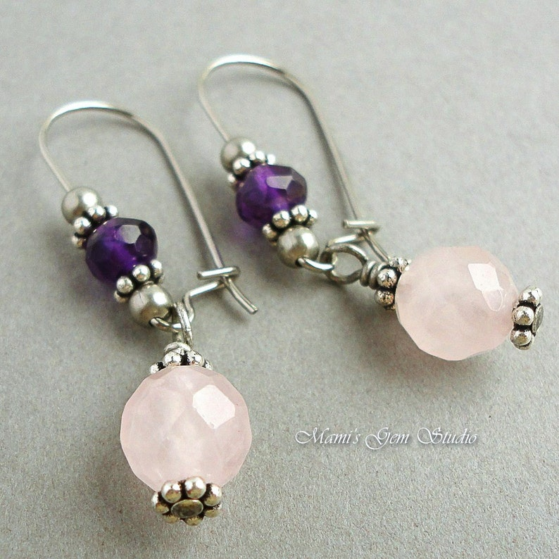 Rose Quartz and Amethyst Earrings Hypoallergenic Stainless image 0