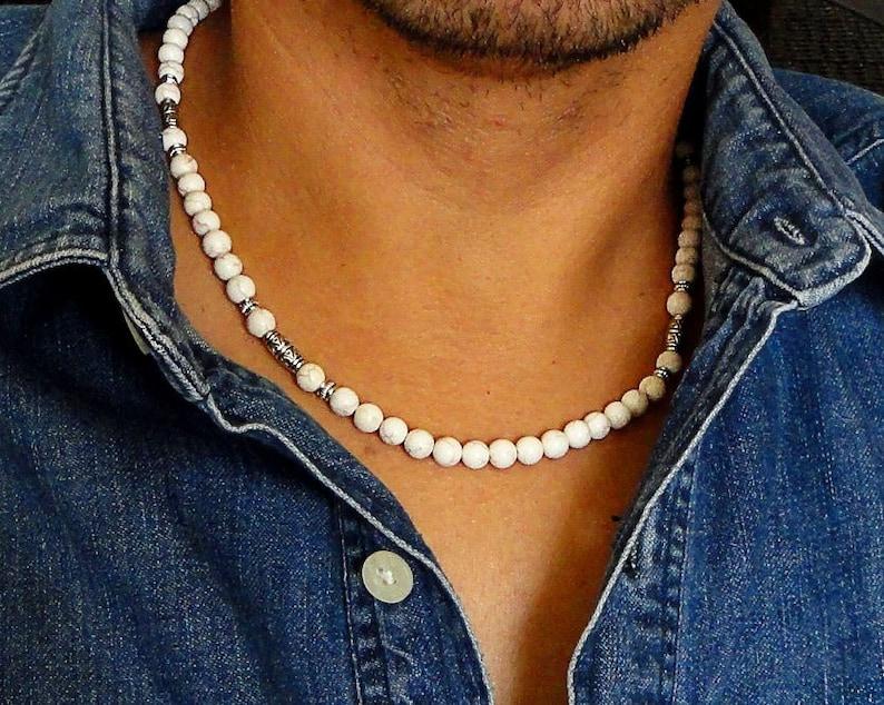 Mens Necklace White Magnesite Stone Necklace for Men Mens image 0