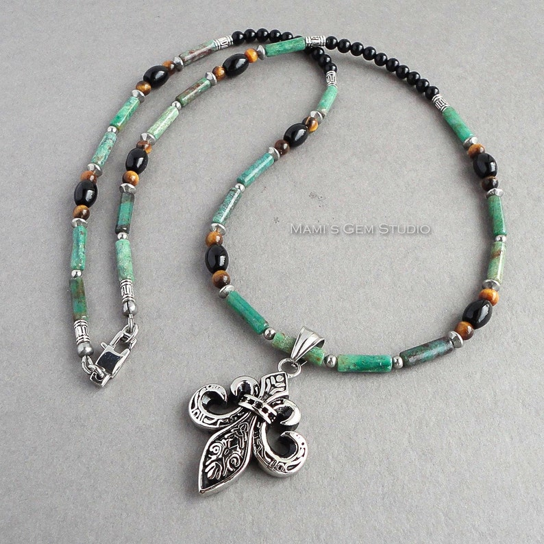 Mens Green Gemstone Necklace 24in Fleur De Lis Stainless image 0