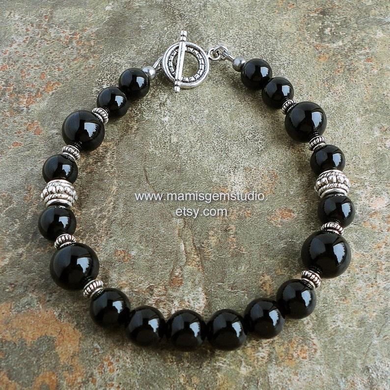 Mens Black Onyx Bracelet Beaded Black Gemstone Jewelry for image 0