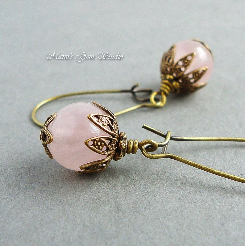 Rose Quartz Earrings in Antiqued Brass Natural Semi-precious image 0