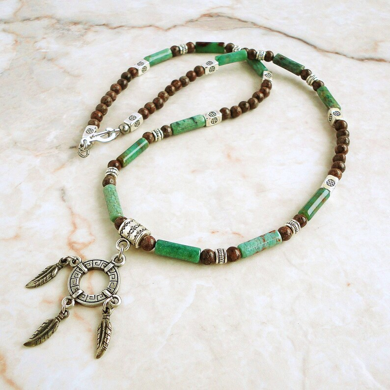 Mens Necklace Ring and Feather Native American Style Charm image 0