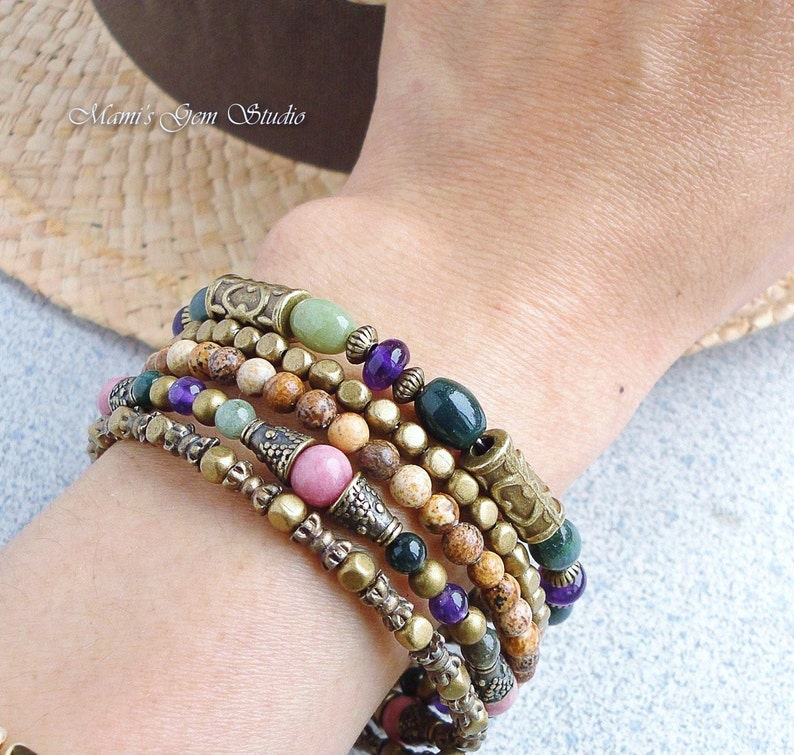 Boho Gypsy Bracelet Wrap Around Bracelet Memory Wire image 0