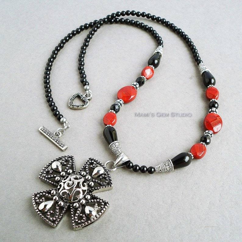 Black Onyx and Red Jasper Gemstone Necklace with Stainless image 0