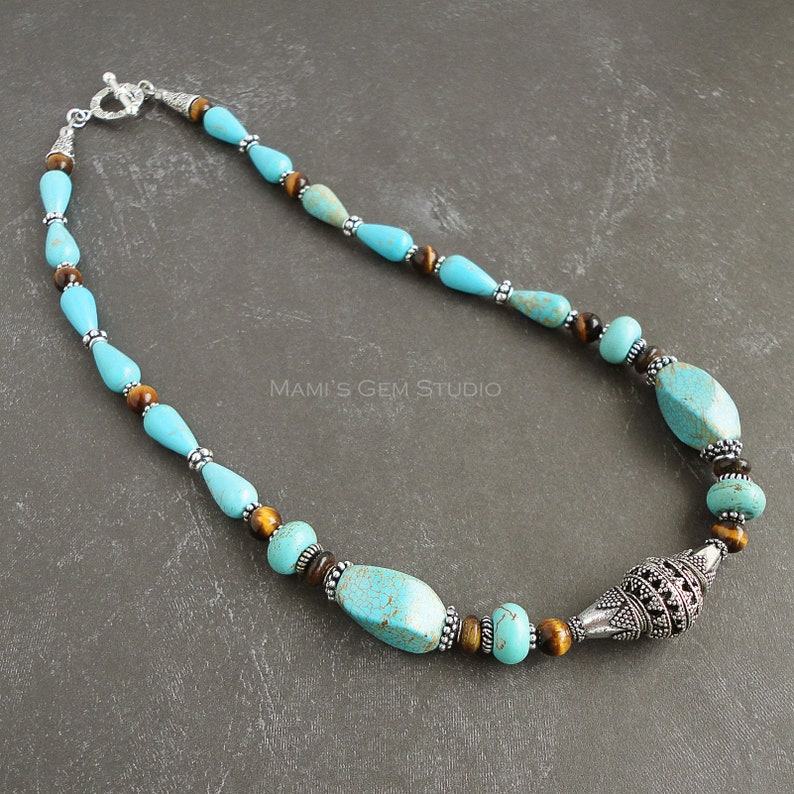 Teal Magnesite and Tiger Eye Necklace Blue and Brown Gemstone image 0