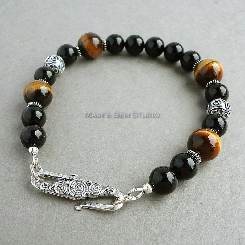 Black Onyx Brown Tiger Eye Mens Bracelet Bali Sterling image 0