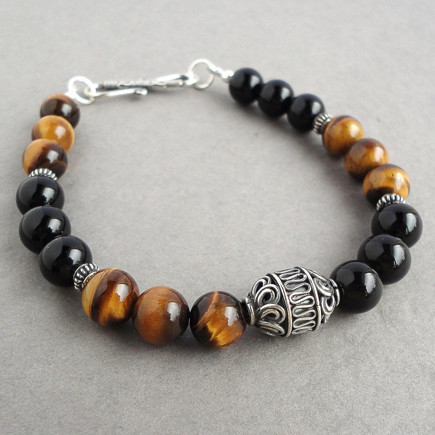 34ca3c0984eae Black Onyx Tiger Eye Bali Sterling Silver Bracelet for Men