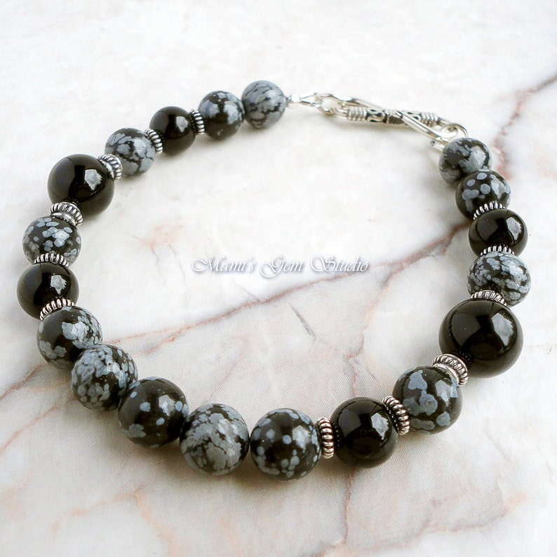 Snowflake Obsidian Black Onyx Mens Beaded Bracelet with Bali image 0