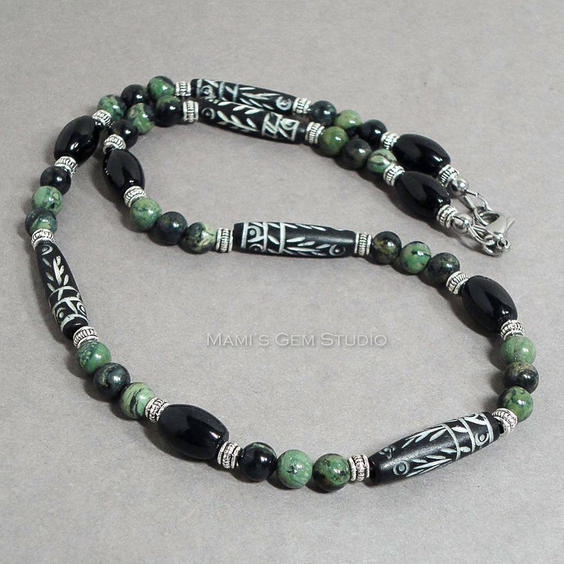 Tribal Style Mens Beaded Necklace  Carved Bone Black Onyx image 0