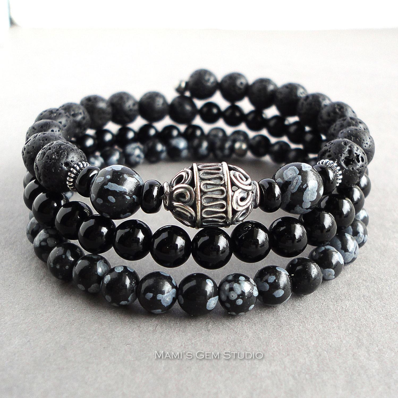 wrap around bracelet for men sterling silver accents black. Black Bedroom Furniture Sets. Home Design Ideas