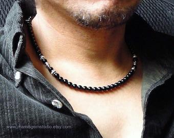 Black Onyx Mens Necklace, Handmade Onyx Jewelry for Men, Guys, Dads, Him, Mens Accessory, High Quality Gemstone Beaded