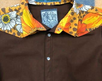 Size 5-6 kids small orange and white retro cactus handmade short sleeve snap western shirt