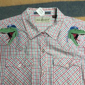 Womens 2XL Cowboy Dinosaur Embroidered Vintage Western Shirt Short Sleeve