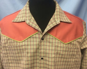 Large mens plaid and rust long sleeve handmade western shirt.