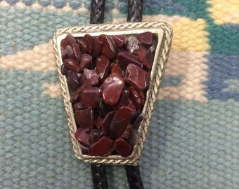 Red stone vintage bolo