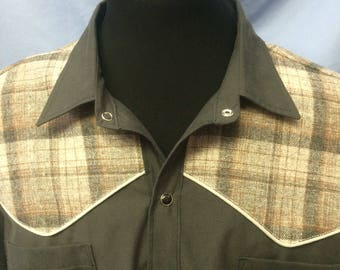 XL black with gray plaid and piping long sleeve western shirt.