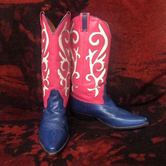 Womens 7 narrow 90s pink blue white inlay Cowboy b