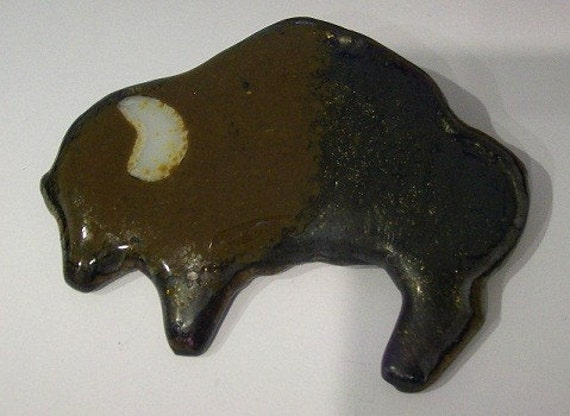 Buffalo - Fused Glass Pin