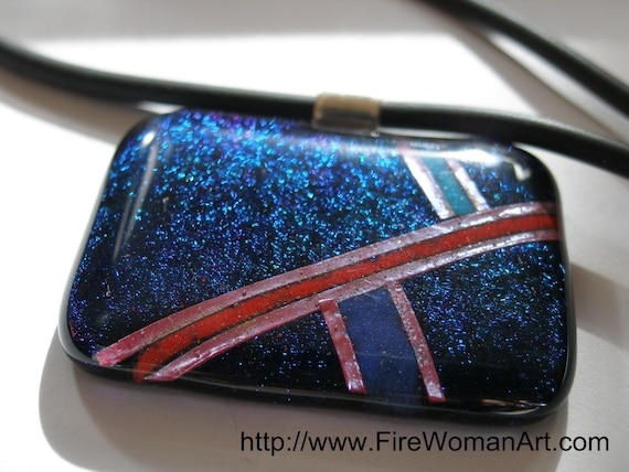 Lay Lines - Fused Glass Pendant