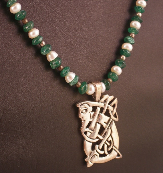 Celtic Man Sterling Silver Pendant on Pearl and Quartz Necklace