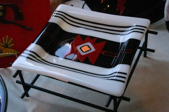 Navajo Rug design Fused Glass Dish with display stand