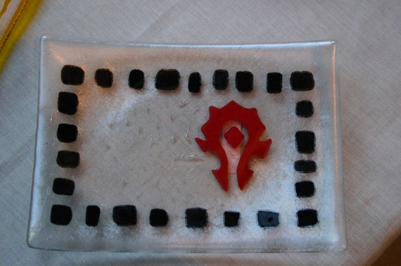 "WOW Horde ""mosaic"" fused glass Sushi dish on Irridized clear glass"