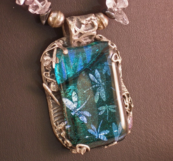 Dragonfly Dreaming in Dichroic Glass on Amethyst and Quartz Chip Necklace