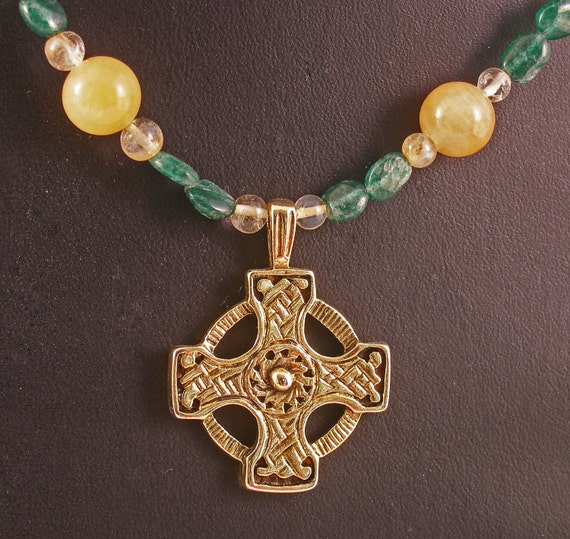 Gold Celtic Cross on Jade and gemstone Necklace