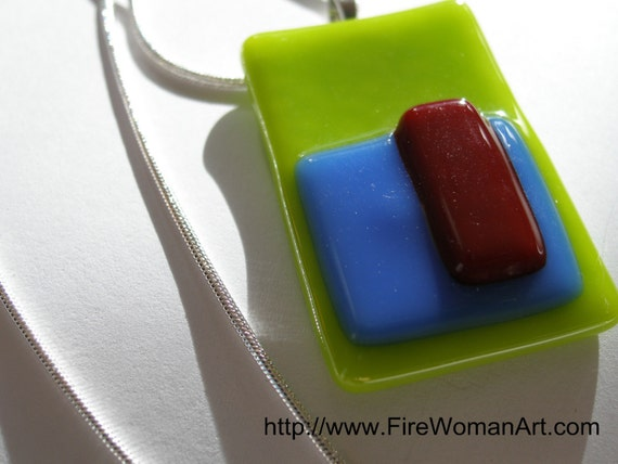 Geometry in Lime - Fused Glass Pendant
