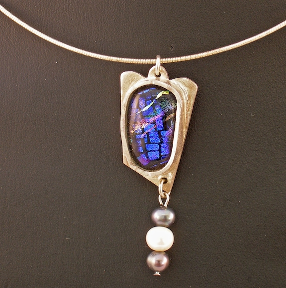 Blue Dichroic Glass in Fine Silver with Pearls