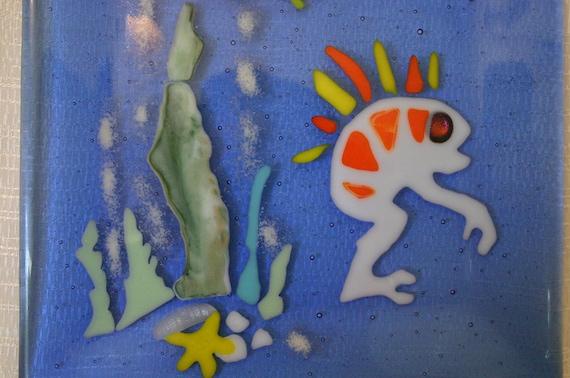 MRRRGGGLLLL GURRRGGGGLLLL  WOW Murlock fused glass plate, ocean scene