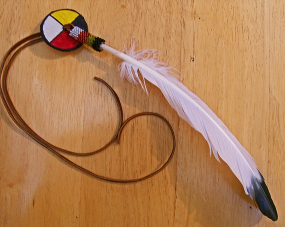 Medicine Wheel Peyote Beaded Feather Hair Tie