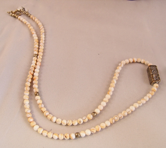 Native American Sterling Silver Hollow Bead on Peach Shell and Sterling Necklace
