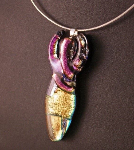 Purple and Gold Goddess in Fused Dichroic Glass