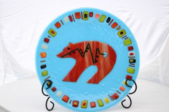 Turquoise Navajo Fetish Bear Bowl, fused glass