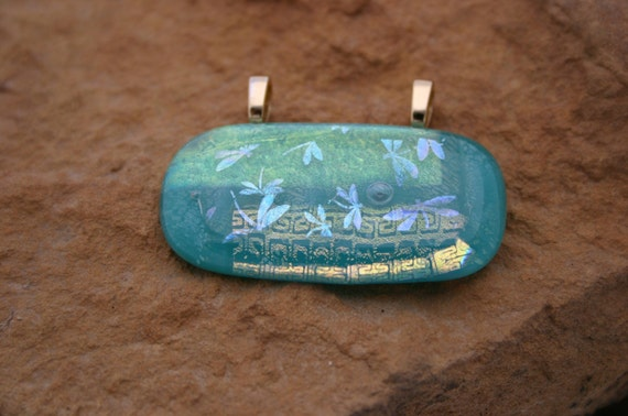 Turquoise Dragonflies Dichroic Pendant