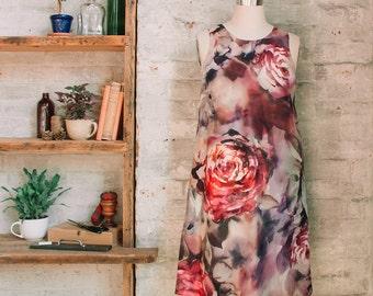 Françoise a-line floral silk dress -rose floral dress - dress with pockets - swing dress - shift dress - sleeveless - knee length dress