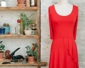 Café plissée Français Style robe avec des manches - robe évasée - corail robe rouge - orange - printemps mode - tenue décontractée - longueur genou