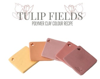 Polymer Clay Colour Mixing Tutorial for Pastel Colour Palette Recipes, Pink Tulip Fields, Fimo Clay, Digital Download