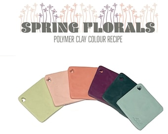 Polymer Clay Colour Recipe Tutorial, Spring Colour Palette Mixing for Fimo Clay, Digital Download