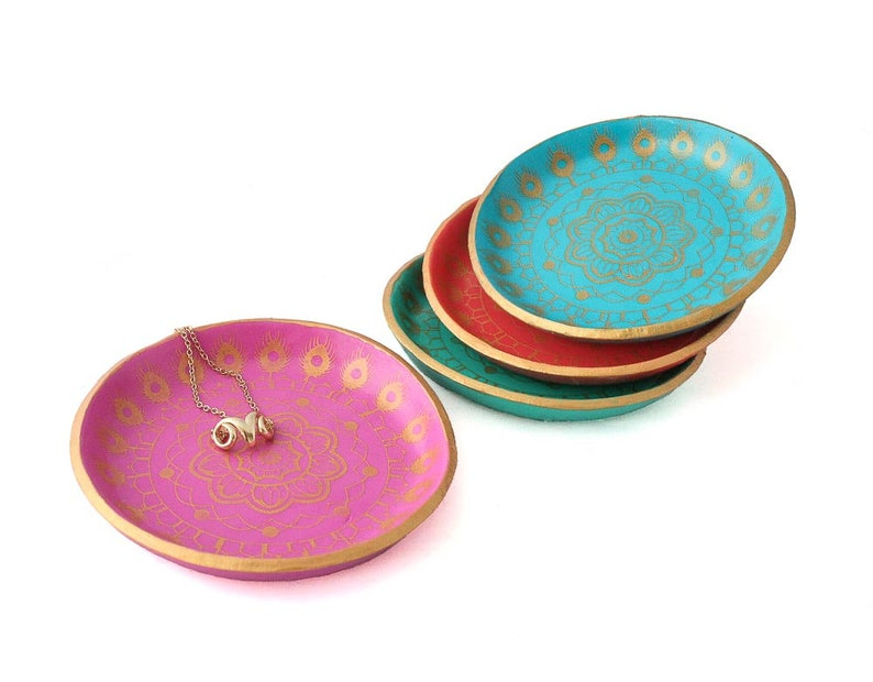 Gift for Her Jewelry Tray Trinket Dish Decorative Dish Coin Tray Ring Holder Mandala Ring Dish Gifts for Home Gifts Under 15