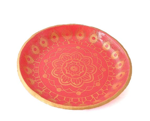 Pink Mandala Ring Dish Jewellery Trinket Holder for Home Bedroom Accessories