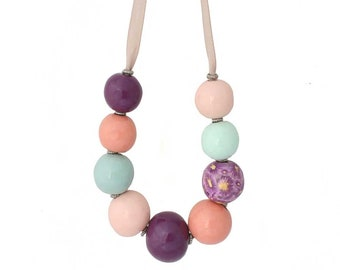 Colourful Chunky Statement Necklace for Women - Big Bold Floral Beaded Jewellery Gifts for Her