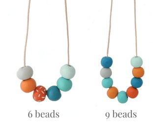 Long Bead Necklace for Women in Turquoise Blue and Orange - Adjustable Multi Coloured Statement Jewellery Gift for Her Under 20