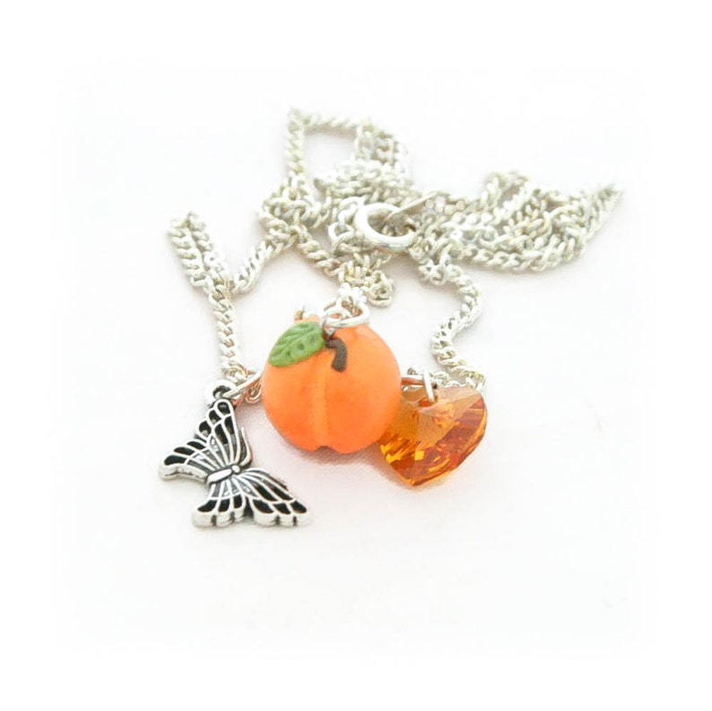 Dainty Necklace Georgia Peach Fruit Necklace Silver Charm Necklace Peach Necklace Food Jewelry -Gifts for Her Under 10