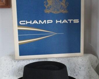 455b586919f Mens Fedora Champ Hat ~Feel the Felt Fedora -Warrior Black Hawk ~ Men s Hat  -Warrior Hat Pin   Feather