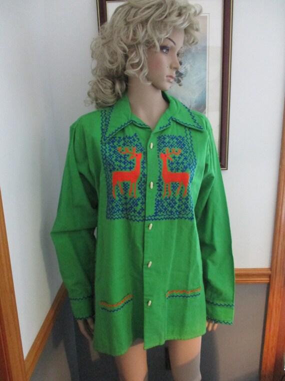 Womens Shirt/Jacket: Green Long Sleeve Vintage  E… - image 2