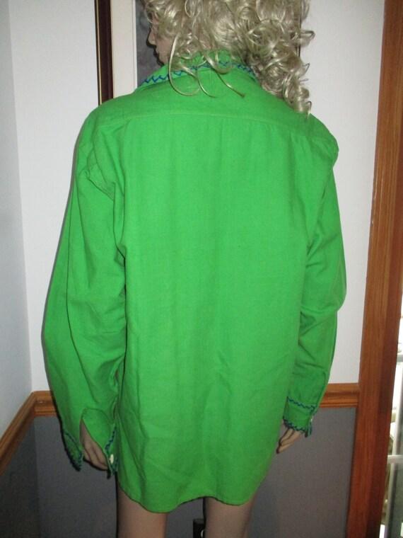Womens Shirt/Jacket: Green Long Sleeve Vintage  E… - image 4